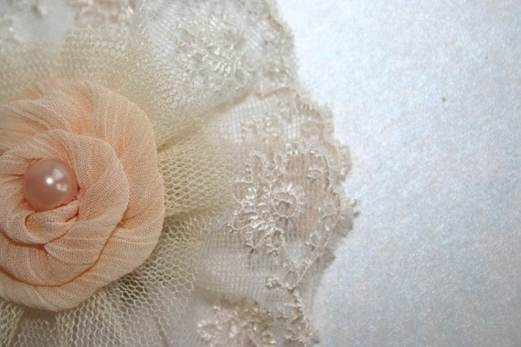 Lace Fabric FLOWER Large Peach Flower w/  pearl bead accent -Hair Pins Hair Clips Wedding Flowers