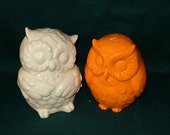 Hootie - Ceramic Owl Salt and Pepper Shakers  -  White and Neon Orange