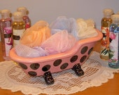 Old Fashioned Claw Foot Bathtub Soap Holder / Planter  -  Hot Pink with Black Polka Dots