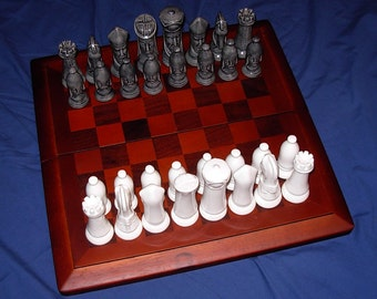 Traditional Ceramic Chess Set  -  Black and White