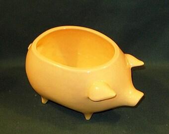 Ceramic Pig Planter / Soap Dish / Scrubby Holder - Sun Yellow