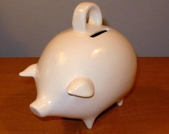 Ceramic Piggy Bank  -  Vintage Design  -  Classic White Glaze