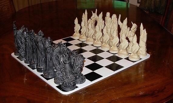 Ceramic Chess Set   -   Doc Holliday  ---Mystical--- Good vs. Evil