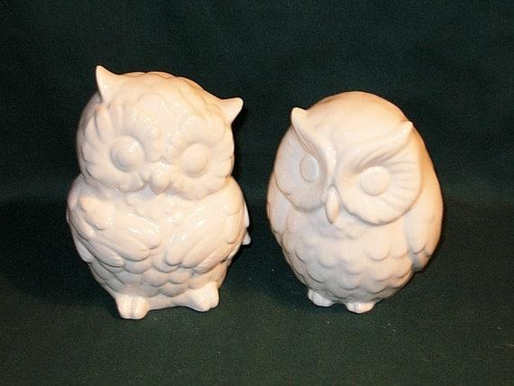 Ceramic Owl Figurines Wedding Cake Topper - Large Ceramic Hootie Owls - Classic White