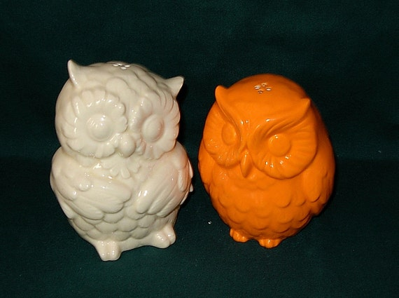 Hootie - Ceramic Owl Salt and Pepper Shakers  -  White and Neon Orange