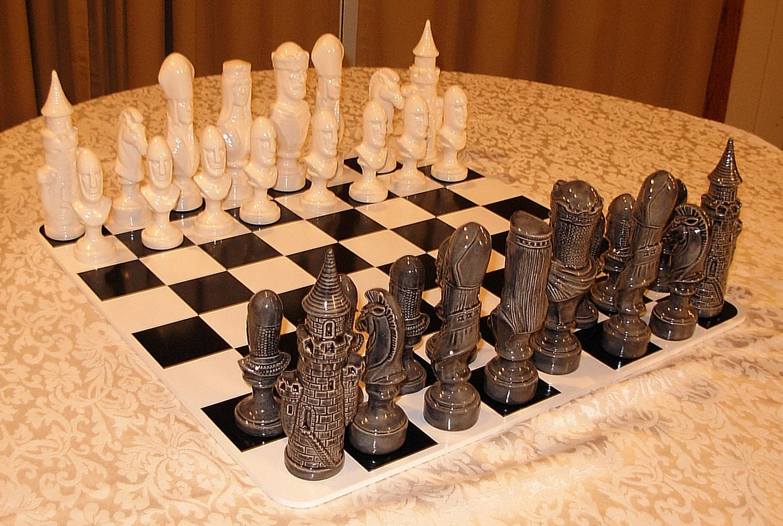 Ceramic chess set mystical medieval - Ceramic chess sets for sale ...