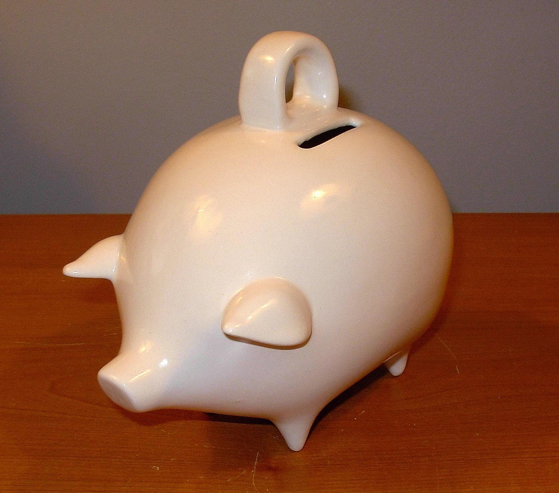 Ceramic Piggy Bank Vintage Design Classic White Glaze