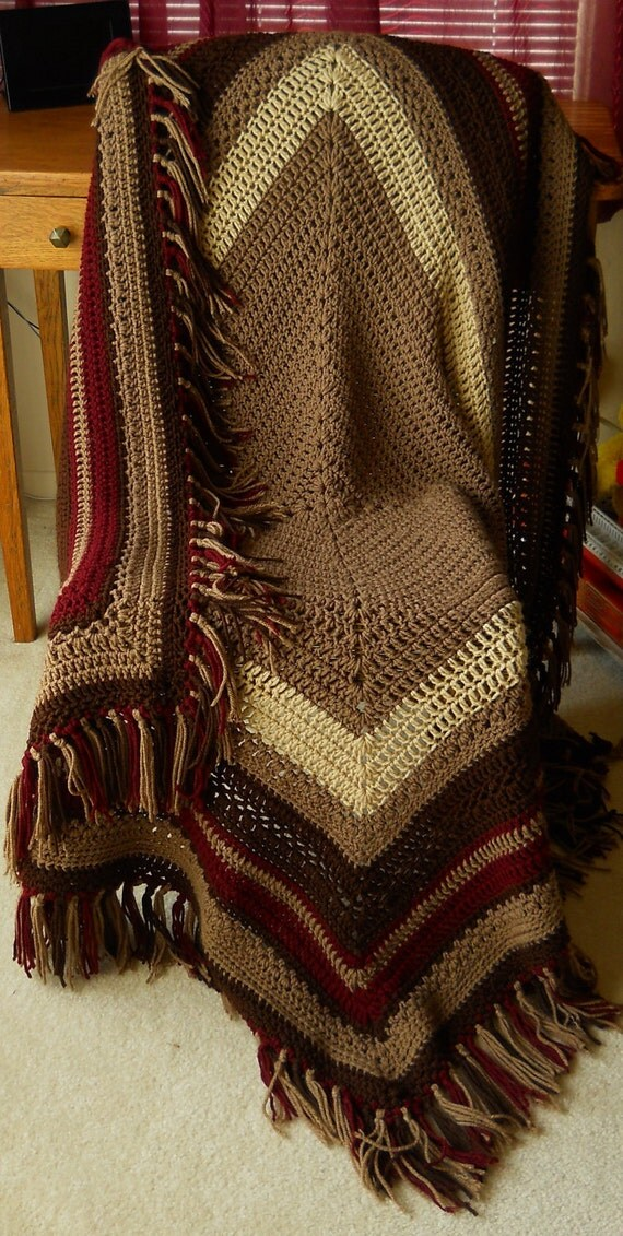 Crocheted Blanket Rich Chocolate Brown  Afghan