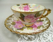 Vintage Pink Roses Lusterware Tea Cup & Saucer Royal Sealy Gift Set with Lace Hankie and Velvet Rose Corsage Pin