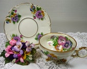 Vintage Footed Tea Cup & Saucer with Irish Linen Hankie and Velvet Pansies Corsage Gift Set