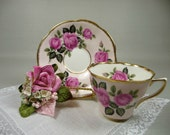 Vintage Pink Teacup & Saucer with Irish Linen Hankie and Velvet Rose Corsage Pin Gift Set