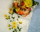 SALE Vintage Embroidered Hankie and Mini Corsage Gift Boxed Hanky Set Yellow Orange Handkerchief