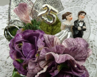 25th Anniversary Corsage Purple Lavender Velvet Roses Silver Decoration Keepsake