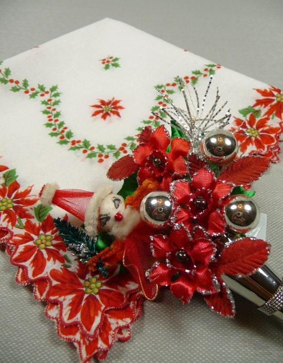 Christmas Hankie and Vintage Santa Sparkle Tussie Mussie Lapel Pin Gift Set Spun Cotton Tulle