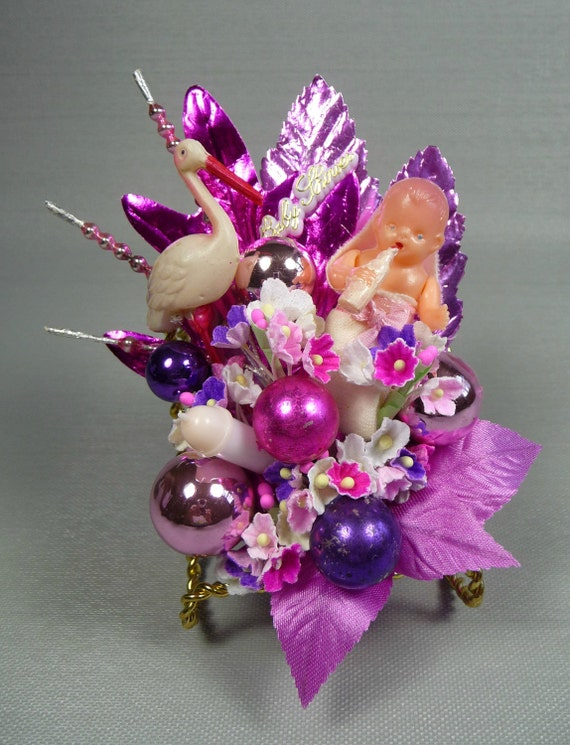 It's a Girl Baby Shower Corsage Vintage Stork Pink Purple Sparkle Decoration