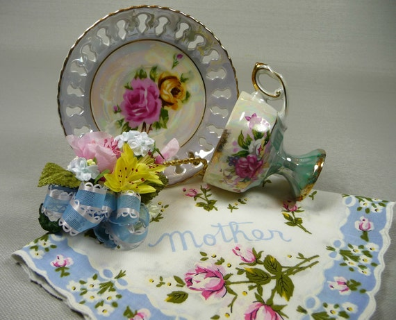 Vintage Demitasse Tea Cup & Saucer Blue Lusterware Pedestal with Mother Hankie and Corsage Pin Gift Set