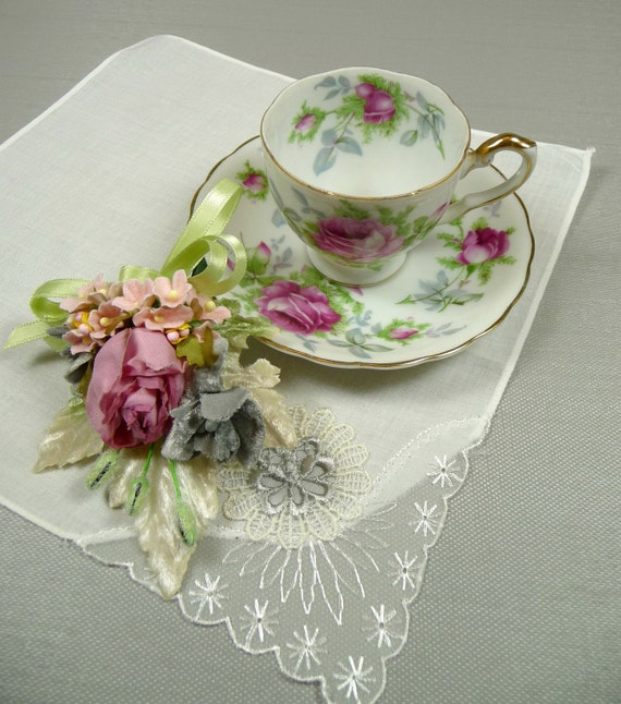 SALE Vintage Demitasse Teacup & Saucer Pink Roses Lefton with Hankie and Millinery Mini Corsage Pin GIft Set