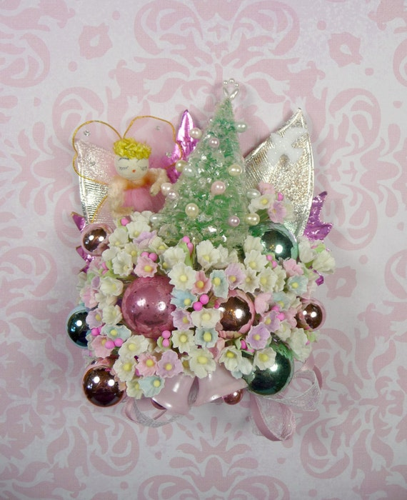 Vintage Pink Christmas Corsage Spun Cotton Angel with Bottle Brush Tree Decoration