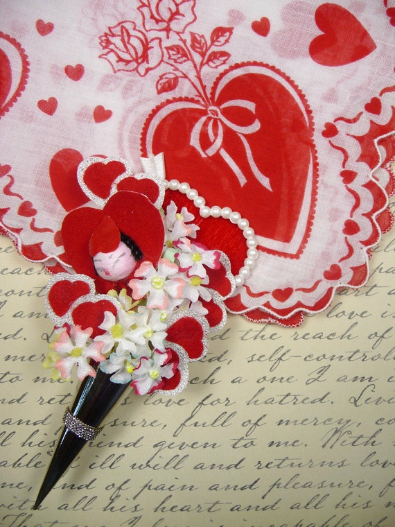 Vintage Valentines Day Hankie and In My Heart Tussie Mussie Corsage Pin Spun Cotton Gift Set Half Off Clearance Sale