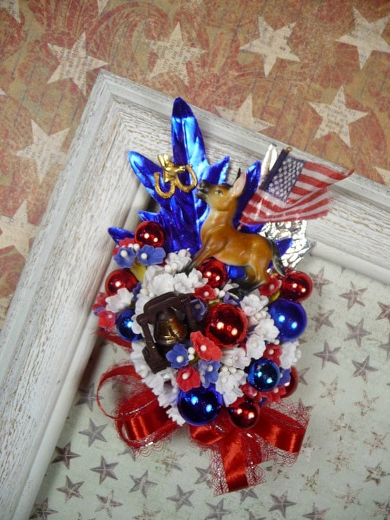 SALE Vintage Corsage Democrat Party Liberty Bell Donkey Campaign Pin Patriotic 4th of July Decoration