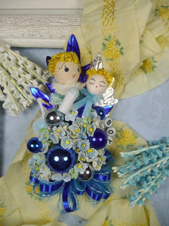 Baby Shower Corsage Boy Blue Vintage Spun Cotton Stork It's a Boy Decoration