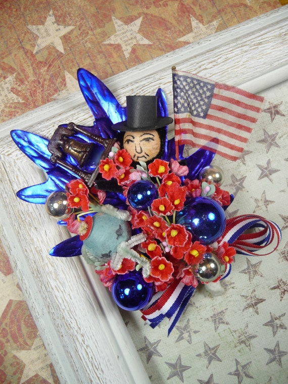 SALE Vintage Corsage Republican GOP Party of Lincoln and Liberty Bell Patriotic 4th of July Decoration