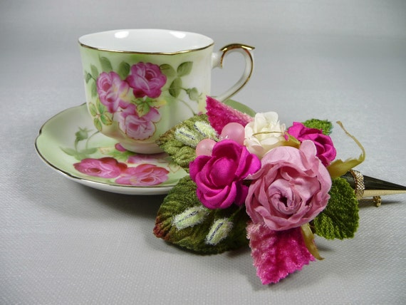 SALE Vintage Demitasse Pink Teacup & Saucer Gift Set Hand Painted with Hankie and Vintage Roses Tussie Mussie Pin