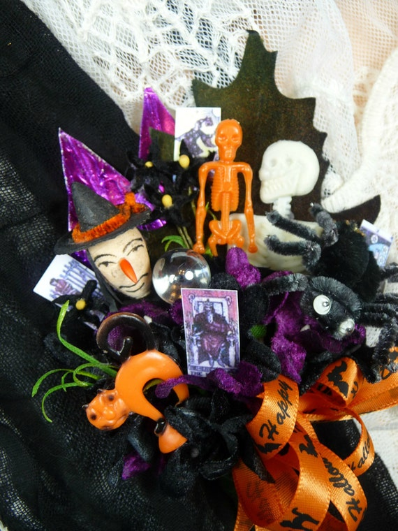Vintage Halloween Corsage Spun Cotton Witch Spider Skeletons Crystal Ball Tarot Cards Decoration