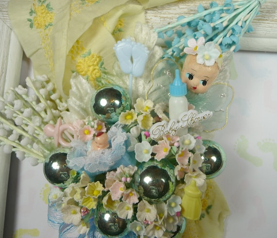 Baby Shower Corsage Vintage Guardian Angel It's a Boy Decoration Blue Yellow