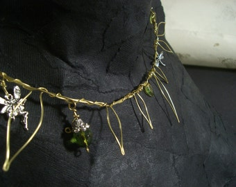 Spring Rites: Fauna - Brass wire necklace with leaves and glass beads
