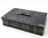 steampunk handmade journal with vintage skeleton key- wood book