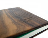 custom photo album scrapbook unique wood book  Black Walnut teal - anniversary gift -  large personalized - made to order - ThreeTreesBindery