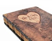 custom wood wedding guest book tree bark cover - personalized rustic engraved woodland natural unique wedding anniversary gift made to order