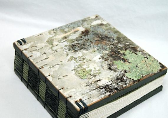 handmade journal - birch bark  wood book - medium