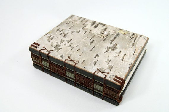 RESERVED for Sandi birch bark journal - handmade wood book - medium - spring green
