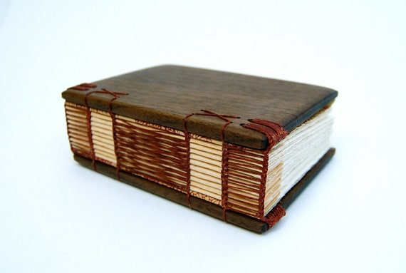 journal handmade wood book - black walnut - gifts for him