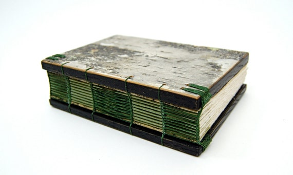 journal handmade wood book - white birch bark - green rustic
