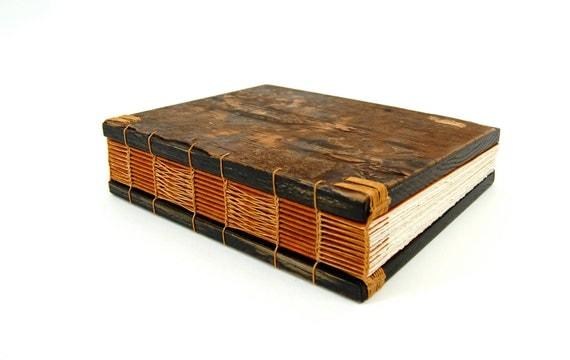 handmade nature journal -  blank wood book - tree bark- rustic woodland - unique