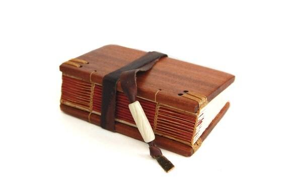small mahogany journal - handmade blank wood book -mini - rustic leather closure - red