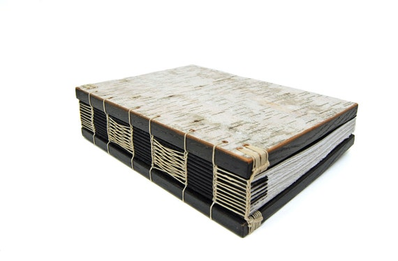 handmade birch bark journal - unique wood book - gray black woodland rustic natural - ready to ship