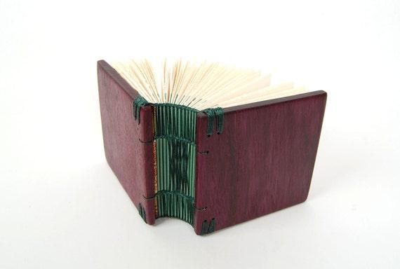 journal handmade wood book - purple heart  - unique gift - purple mint green emerald small