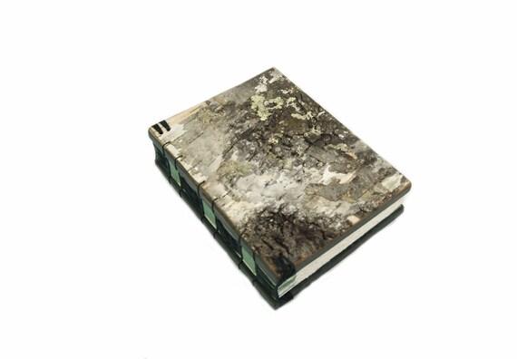 birch bark journal - handmade wood book - medium - spring mint green moss sage rustic forest- ready to ship