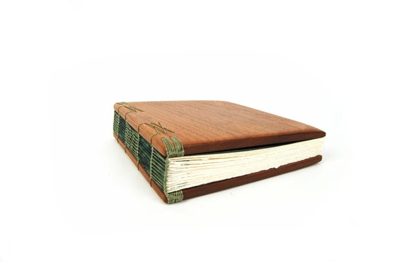 Handmade Journal Mahogany Wood Book Rustic Wedding Guest Book Green fall wedding  -ready to ship