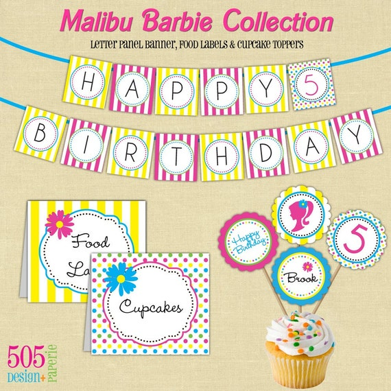 Malibu Barbie Inspired Birthday Party Theme Printable Decorations