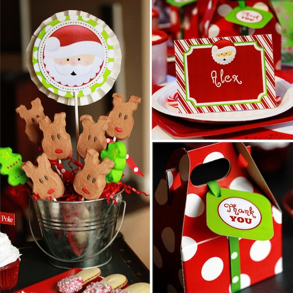 INSTANT DOWNLOAD - Printable Christmas Collection - Banner, Toppers, Drink Labels, Centerpiece Circles, Food Labels & More