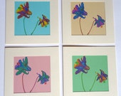 Aquilegia Cards, Pack of 4 different Spring colours
