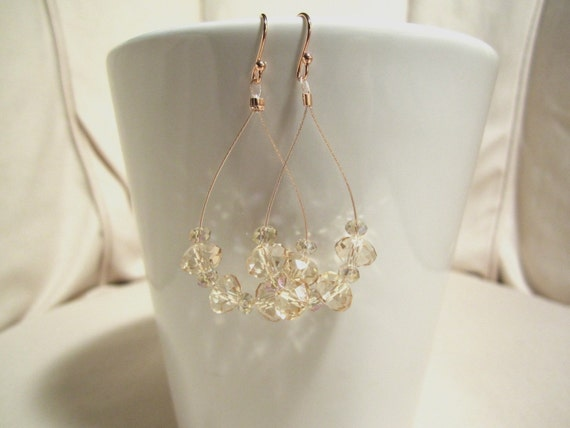 Rose Gold Champagne Crystal Earrings