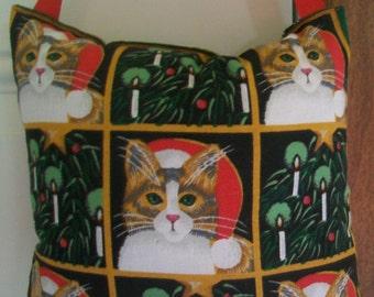 SALE - Christmas Door Hanger -  Christmas Cat Blocks