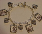 vintage handcrafted alice in wonderland photo charm bracelet