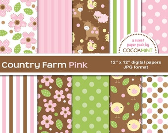 Country Farm Pink Digital Papers